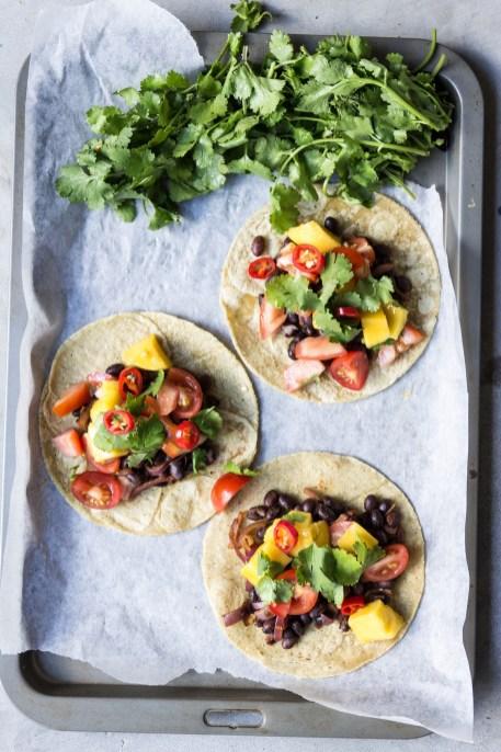 Vegan Black Bean Mango Salsa Tacos